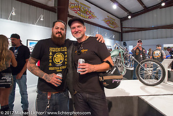 Custom builder Cristian Sosa with Christian Pingitzer of BMW in Munich at the Old Iron - Young Blood exhibition media and industry reception in the Motorcycles as Art gallery at the Buffalo Chip during the annual Sturgis Black Hills Motorcycle Rally. Sturgis, SD. USA. Sunday August 6, 2017. Photography ©2017 Michael Lichter.