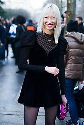 Soo Joo Park wearing sheer tights is seen outside Valentino during Paris Fashion Week Womenswear Fall/Winter 2018/2019 on March 4, 2018 in Paris, France.   (Photo by Nataliya Petrova/NurPhoto/Sipa USA)