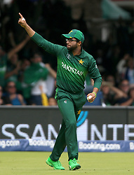 Pakistan's Imam-ul-Haq celebrates catching out South Africa's Quinton de Kock during the ICC Cricket World Cup group stage match at Lord's, London.