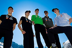 Jurij Tepes, Nejc Dezman, Dejan Judez, Jure Sinkovec and Jaka Hvala at media day of Slovenian Ski jumping team during construction of two new ski jumping hills HS 135 and HS 105, on September 18, 2012 in Planica, Slovenia. (Photo By Vid Ponikvar / Sportida)