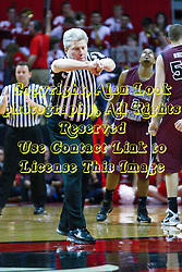 12 February 2011: Referee Eric Curry calls to the bench official during an NCAA Missouri Valley Conference basketball game between the Missouri State Bears and the Illinois State Redbirds at Redbird Arena in Normal Illinois.