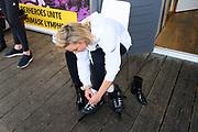 Kick-off De Hollandse 100 2020 op de Jaap Edenbaan voor de zesde editie van De Hollandse 100, die dit jaar op 15 maart in Thialf wordt gehouden. Het evenement heeft als doel de financiering van wetenschappelijk onderzoek naar de aard en behandeling van lymfklierkanker te steunen. <br /> <br /> Op de foto:  Fien Vermeulen
