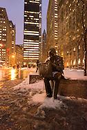 New York, Zuccoti park. Manhattan under the snow / Manhattan sous la neige