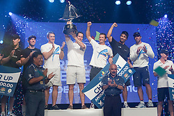 Ben Ainslie holds the Monsoon Cup aloft after winning the finals of the Monsoon Cup 2010. World Match Racing Tour, Kuala Terengganu, Malaysia. 5 December 2010. Photo: Subzero Images/WMRT
