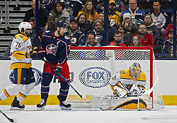 November 7, 2017 - Columbus, OH, USA - Nashville Predators goalie Pekka Rinne (35) makes a save in front of the Columbus Blue Jackets' Nick Foligno (71) during the second period at Nationwide Arena on November 7, 2017. (Credit Image: © Kyle Robertson/TNS via ZUMA Wire)