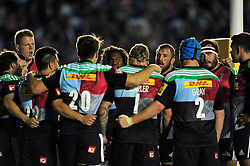 The Harlequins squad huddle together after conceding a late try - Photo mandatory by-line: Patrick Khachfe/JMP - Mobile: 07966 386802 12/09/2014 - SPORT - RUGBY UNION - London - Twickenham Stoop - Harlequins v Saracens - Aviva Premiership