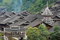 Chine. Province du Guizhou. Village Dong de Zhaoxing. Tour du Tambour. // China. Guizhou province. Dong village of Zhaoxing.  Drum Tower.