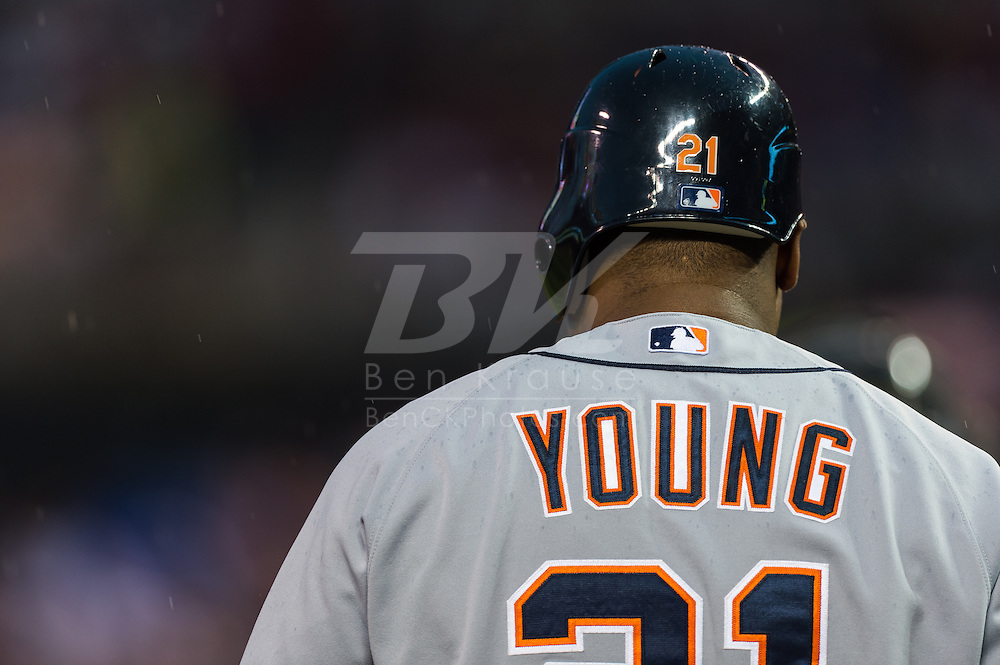 Delmon Young (21) of the Detroit Tigers waits on-deck during a game against the Minnesota Twins on August 14, 2012 at Target Field in Minneapolis, Minnesota.  The Tigers defeated the Twins 8 to 4.  Photo: Ben Krause
