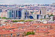 Madrid, August 2012. Commercial sector near a residential and worker sector.  Madrid has 3,200,000 population.