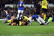 Ramiro Funes Mori of Everton (hand up) is cut after clashing heads with Ashley Hemmings of Dagenham & Redbridge. The Emirates FA cup, 3rd round match, Everton v Dagenham & Redbridge at Goodison Park in Liverpool on Saturday 9th January 2016.<br /> pic by Chris Stading, Andrew Orchard sports photography.