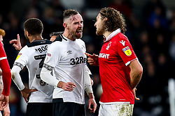 Richard Keogh of Derby County and Michael Hefele of Nottingham Forest argue - Mandatory by-line: Robbie Stephenson/JMP - 17/12/2018 - FOOTBALL - Pride Park Stadium - Derby, England - Derby County v Nottingham Forest - Sky Bet Championship