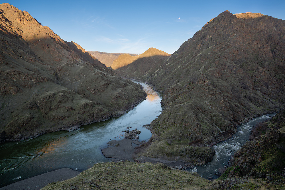The confluence of the Imnaha and Snake Rivers in Hells Canyon on the border of Oregon and Idaho.