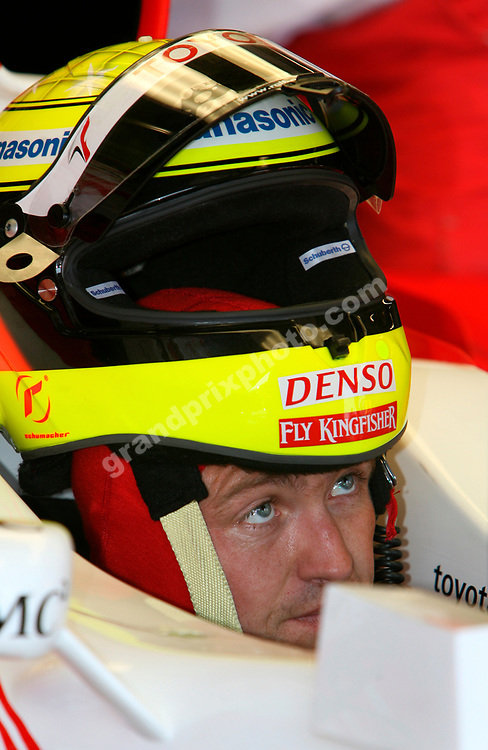Toyota driver Ralf Schumacher in the pits with his helmet during practice for the 2007 Monaco Grand Prix. Photo: Grand Prix Photo