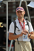 Marathon, GREECE,   Danish M4X, coach, at the FISA European Rowing Championships.  Lake Schinias Rowing Course, 19/09/2008  [Mandatory Credit Peter Spurrier/ Intersport Images] , Rowing Course; Lake Schinias Olympic Rowing Course. GREECE