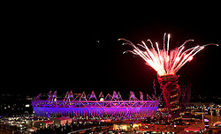 © Licensed to London News Pictures. 28/07/2012. LONDON, UK. Fireworks explode from the top of the ArcelorMittal Orbit next to the Olympic Stadium as the final phases of the opening ceremony of the 2012 Summer Olympics take place in London today (28/07/12). Constituting the third time the Olympic Games have been held in Great Britain, the 2012 Olympic Games, also known as the Games of the XXX Olympiad opened this evening with a show, put together by 'Slum Dog Millionaire' director Danny Boyle, entitled 'The Isles of Wonder. Photo credit: Matt Cetti-Roberts/LNP