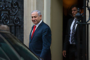 Israel's Prime Minister Benjamin Netanyahu leaving 10 Downing Street following a meeting with Prime Minister Boris Johnson in Central London, United Kingdom on 5th August , 2019.