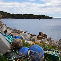 North America, Canada, Nova Scotia, Ship Harbour. Bouys at a Mussel Farm.