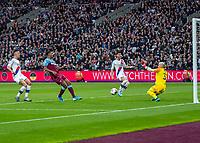 Football - 2019 / 2020 Premier League - West Ham United vs. Crystal Palace <br /> <br /> Vincente Gusita (Crystal Palace) saves from Sebastien Haller (West Ham United) at the London Stadium<br /> <br /> COLORSPORT/DANIEL BEARHAM