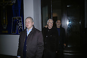 Antony Peattie, Howard Hodgkin and Alan Yentob, Gilbert and George Major Exhibition. Tate Modern. Afterwards dinner at Christchurch Spitafields. London. 13 February 2007.  -DO NOT ARCHIVE-© Copyright Photograph by Dafydd Jones. 248 Clapham Rd. London SW9 0PZ. Tel 0207 820 0771. www.dafjones.com.