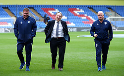 Cardiff City manager Neil Warnock Roy Hodgson (centre) with coach Ronnie Jepson (left) and Assistant Manager Kevin Blackwell on the pitch prior to the Premier League match at Selhurst Park, London.