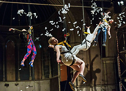 Performers from Volcano Theatre's Seagulls perform partly submerged in 45 tonnes of water in an interior lake filling St James church in Leith.<br /> <br /> Seagulls is an adaption of Chekov's The Seagull.<br /> <br /> Pictured L to R:  Mairi Phillips; Elin Phillips, Neal McWilliam, Gethin Alderman