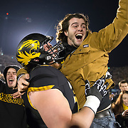 University of Missouri students poured onto Faurot Field in Columbia, Mo. to celebrate the victory on November 30, 2013 over Texas A&M to send the team to the SEC Championship game in Atlanta, Ga.
