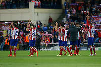 Atletico de Madrid´s wave to their supporters at the ending of Champions League semifinal first leg soccer match between Atletico de Madrid and Chelsea, at the Vicente Calderon stadium, in Madrid, Spain, April 22, 2014. (ALTERPHOTOS/Victor Blanco)