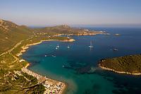 Aerial view of boats anchored at di Ringhio bay, Sardinia, Italy.