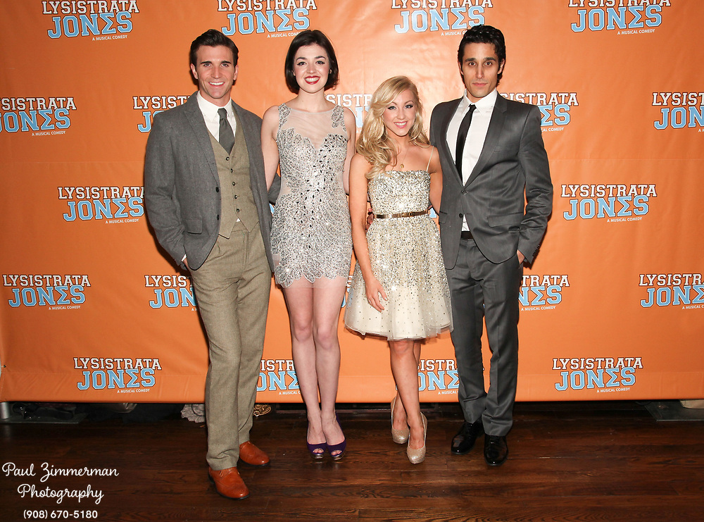 """NEW YORK, NY - DECEMBER 14:  (L-R) Charlie Sutton, Barrett Wilbert Weed, Libby Servais and Jared Zirilli attend the """"Lysistrata Jones"""" Broadway opening night after party at the New Liberty Theatre on December 14, 2011 in New York City.  (Photo by Paul Zimmerman/WireImage)"""