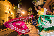 Traditional costumed folk dancers during the Day of the Dead Festival known in spanish as Día de Muertos on October 25, 2014 in Oaxaca, Mexico.