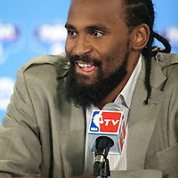 06 October 2010: New York Knicks center Ronny Turiaf #14 is seen during the press conference following Minnesota Timberwolves 106-100 victory over the New York Knicks, during 2010 NBA Europe Live, at the POPB Arena in Paris, France.