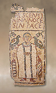 The Christian Eastern Roman Byzantine memorial funerary mosaic for Crescentia. <br /> Above the funerary portrait of Crescentia are the words: 'Crescentia, innocent and in Peace'. Crescentia is dressed in a dalmatic, a long wide-sleeved tunic, with a belt around the waiste and a neclace around her neck. Lit candles represent eternal life. 5th century AD from the western necropolis of Thabraca, Tabarka, Tunisia, Bardo Museum, Tunis, Tunisia .<br /> <br /> If you prefer to buy from our ALAMY PHOTO LIBRARY  Collection visit : https://www.alamy.com/portfolio/paul-williams-funkystock/roman-mosaic.html - Type -   Bardo    - into the LOWER SEARCH WITHIN GALLERY box. Refine search by adding background colour, place, museum etc<br /> <br /> Visit our ROMAN MOSAIC PHOTO COLLECTIONS for more photos to download  as wall art prints https://funkystock.photoshelter.com/gallery-collection/Roman-Mosaics-Art-Pictures-Images/C0000LcfNel7FpLI