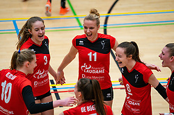 Louise Bijlsma of VCN, Kirsten van der Lecq of VCN, Lisa Vossen of VCN celebrate during the league match Laudame Financials VCN - FAST on January 23, 2021 in Capelle aan de IJssel.