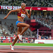 TOKYO, JAPAN August 1:   Gold medal winner Yulimar Rojas of Venezuela on the runway during the triple jump final in the Track and Field competition at the Olympic Stadium  at the Tokyo 2020 Summer Olympic Games on July 31, 2021 in Tokyo, Japan. (Photo by Tim Clayton/Corbis via Getty Images)