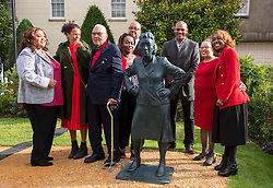 © Licensed to London News Pictures; 04/10/2021; Bristol, UK. The statue of Henrietta Lacks is unveiled by members of the Lacks family from the USA. The first public sculpture of a black woman made by a black woman in the UK is unveiled at the University of Bristol's Royal Fort Gardens. Bristol artist Helen Wilson-Roe created the life-sized bronze statue of Henrietta Lacks whose cancer cells changed the course of modern medicine. Cells were taken from Henrietta without her consent or knowledge and were the first living human cells to ever survive and multiply outside the body.The statue's unveiling marks the 70th anniversary of Henrietta's death. Photo credit: Simon Chapman/LNP.