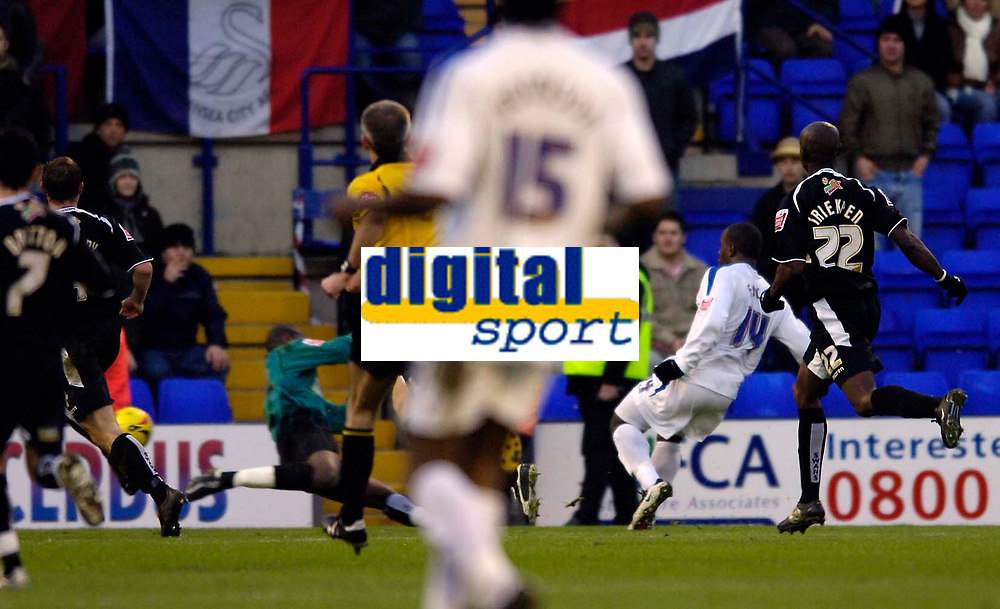Photo: Jed Wee.<br />Tranmere Rovers v Swansea City. Coca Cola League 1.<br />26/11/2005.<br />Tranmere's Delroy Facey scores their second goal.