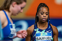 Jamile Samuel in action on the 60 meter during AA Drink Dutch Athletics Championship Indoor on 20 February 2021 in Apeldoorn.