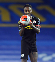 Football - 2019 / 2020 Premier League - Brighton & Hove Albion vs Manchester City<br /> <br /> <br /> Raheem Sterling celebrates his hat trick with the match ball , at the Amex Stadium<br /> <br /> COLORSPORT/ANDREW COWIE