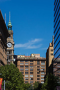 Architecturial detail of heritage-listed landmark buildings located in Martin Place, Sydney, Australia.
