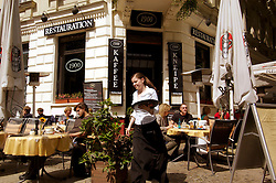 Exterior of traditional Restauration restaurant in bohemian Prenzlauer Berg district of Berlin Germany