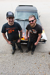 """Dan """"Bacon"""" Carr (L) of DC Choppers with photographer Josh Kurpius in Spicewood, TX during a visit after the Giddy Up Vintage Chopper Show.  Monday, March 30, 2015, photographed by Michael Lichter. ©2015 Michael Lichter"""