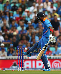 India's KL Rahul is bowled by New Zealand's Trent Boult during the ICC Cricket World Cup Warm up match at The Oval, London.