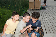 Two young boys playing on a game console while a third intrigued boy looks on from he side
