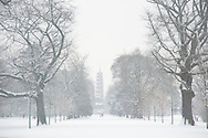 The Japanese temple in Kew Gardens during a snowstorm.  Kew Gardens<br /> London, UK  January