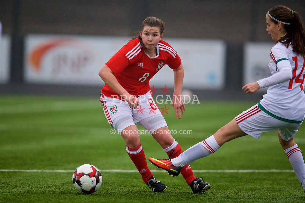 MERTHYR, WALES - Tuesday, February 14, 2017: Wales' Alice Griffiths in action against Hungary during a Women's Under-17's International Friendly match at Penydarren Park. (Pic by Laura Malkin/Propaganda)