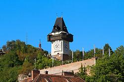 THEMENBILD, Graz, Österreich, Der Grazer Uhrturm ist ein 28 Meter hoher Turm, der sich auf dem Schloßberg befindet und als Wahrzeichen von Graz gilt. im Bild der Uhrturm. //THEME IMAGE, FEATURE, Graz, Austria, The Uhrturm (Clock tower) of Graz is a tower with an altitude of 28 metres. He is located on the Schlossberg and is the landmark of Graz. picture shows the Uhrturm. Graz, Austria on 2012/09/18. EXPA Pictures © 2012, PhotoCredit: EXPA/ Sebastian Pucher