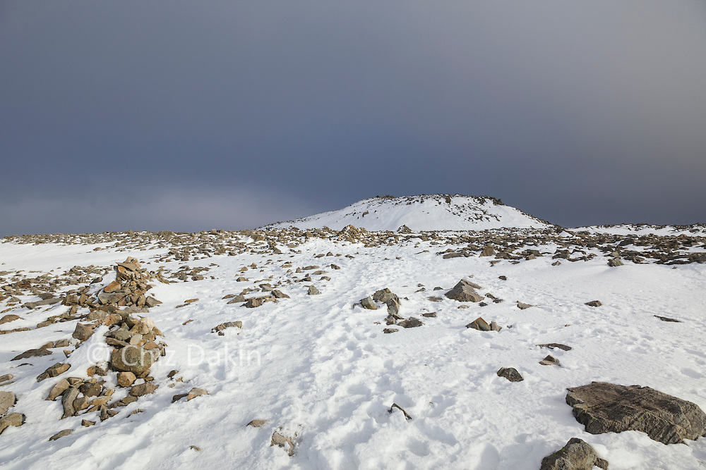 The summit of Scafell Pike in Winter