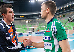Milan Rasic of ACH and Nikola Grbic of Cuneo after the volleyball match between ACH Volley Ljubljana and Bre Banca Lannutti Cuneo (ITA) in Playoff 12 game of CEV Champions League 2012/13 on January 15, 2013 in Arena Stozice, Ljubljana, Slovenia. (Photo By Vid Ponikvar / Sportida.com)