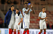 Tammy Abraham of England applauds the England fans at full time during the U21 UEFA EURO first qualifying round match between England and Scotland at the Riverside Stadium, Middlesbrough, England on 6 October 2017. Photo by Paul Thompson.