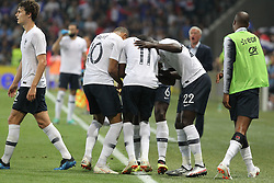 June 1, 2018 - Nice, France - France's foward Ousmane Dembel scores the third goal for the France during the friendly football match between France and Italy at Allianz Riviera stadium on June 01, 2018 in Nice, France. (Credit Image: © Massimiliano Ferraro/NurPhoto via ZUMA Press)